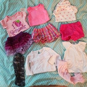 0-3 month baby girl 12 piece bundle.